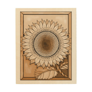 Tan Sunflower Wood Print