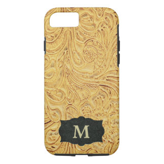 Tan Tooled Leather Look Monogram iPhone 7 Case