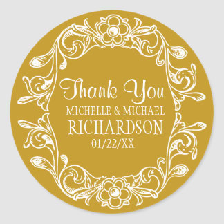 Tan Vintage Floral Wreath Wedding Favor Round Sticker