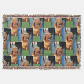 tan vizsla hound dog happy portrait throw blanket