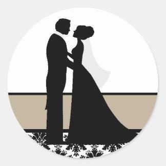 Tan  Wedding Couple Seals Round Stickers