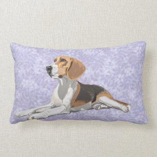 Tan White & Black Beagle with blue floral Backdrop Lumbar Cushion