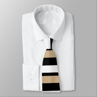 Tan White & Black Horizontally-Striped Tie