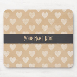 Tan/White Chalkboard Hearts Personalized Mouse Pad