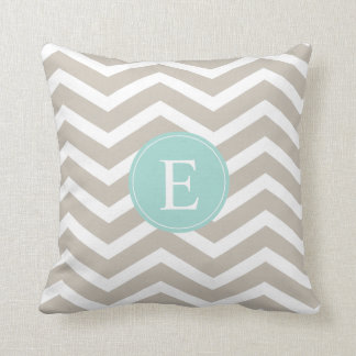 Tan White Chevron Teal Monogram Cushion