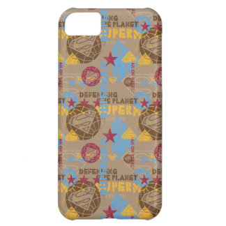 Tan with red and light blue iPhone 5C case