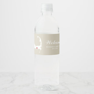 Tan Yarmouth Cape Cod Map with red heart Wedding Water Bottle Label