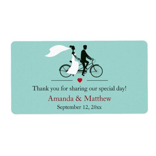 Tandem Bicycle Aqua Wedding Favour Labels