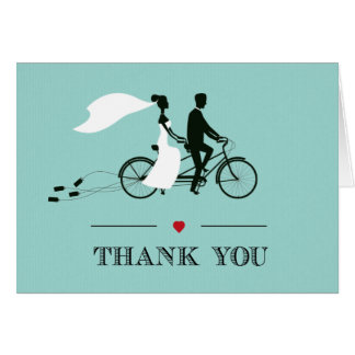 Tandem Bicycle Aqua Wedding Thank You Note Card