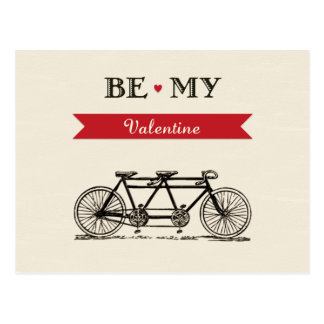 Tandem Bicycle - Be My Valentine Card Postcards