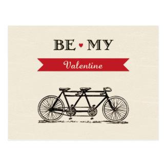 Tandem Bicycle - Be My Valentine Card Postcards