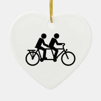 Tandem Bicycle bike Ceramic Heart Decoration