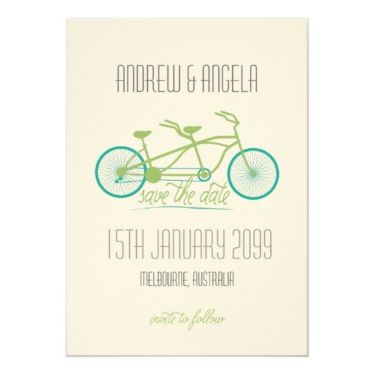 Tandem Bicycle / Bike Modern Wedding Save the Date Card