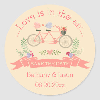 Tandem Bicycle, Birds and Banner Save The Date Round Sticker