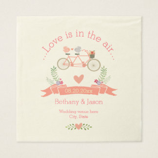 Tandem Bicycle, Birds and Banner Wedding Paper Napkin