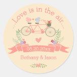 Tandem Bicycle, Birds and Banner Wedding Round Sticker