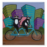 Tandem Bicycle Cats Poster