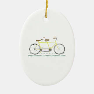 Tandem Bicycle Ceramic Oval Decoration