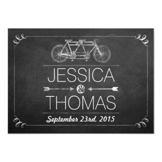 Tandem Bicycle Chalkboard Typography Wedding 11 Cm X 16 Cm Invitation Card