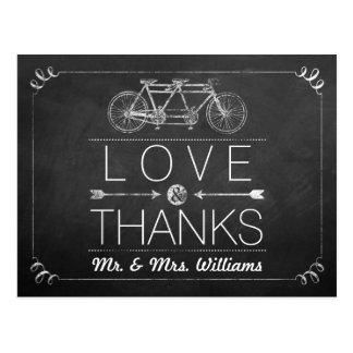 Tandem Bicycle Chalkboard Typography Wedding Postcard