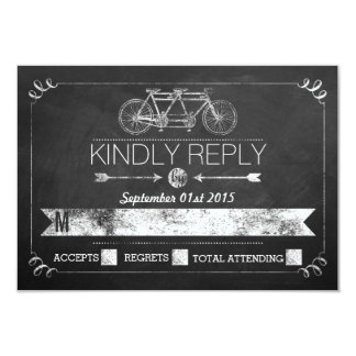 Tandem Bicycle Chalkboard Typography Wedding RSVP 9 Cm X 13 Cm Invitation Card