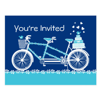 Tandem Bicycle Custom Aqua Invitation Postcard
