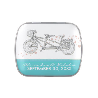 Tandem Bicycle Custom Wedding Favor Tins (aqua) Jelly Belly Tins