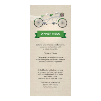 Tandem Bicycle Green Wedding Menu Faux Linen