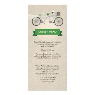 Tandem Bicycle Green Wedding Menu Faux Linen Custom Rack Card