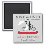 Tandem Bicycle Grey and Red Save the Date Magnets