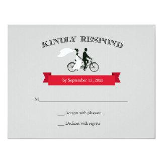 Tandem Bicycle Grey Wedding RSVP 11 Cm X 14 Cm Invitation Card