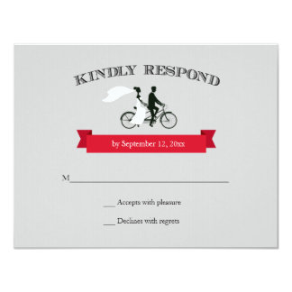 Tandem Bicycle Grey Wedding RSVP Card