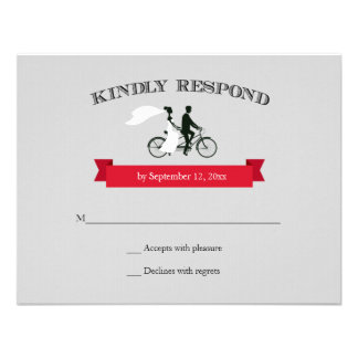 Tandem Bicycle Grey Wedding RSVP Invite