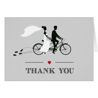 Tandem Bicycle Grey Wedding Thank You Note Card