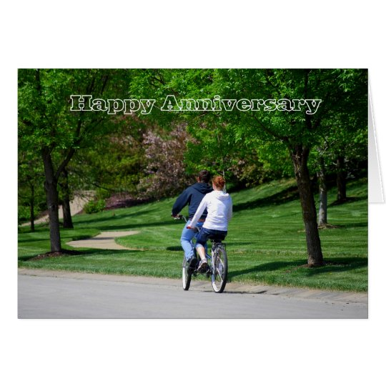 Tandem Bicycle Happy Anniversary Card