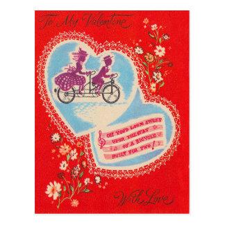 Tandem Bicycle Heart Flower Valentine Postcard
