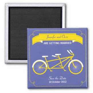 Tandem Bicycle Modern Wedding Purple Save the Date Magnet