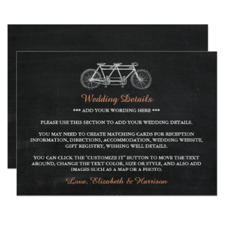 Tandem Bicycle On Chalkboard Wedding Detail Insert Card
