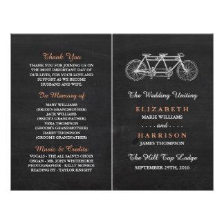Tandem Bicycle On Chalkboard Wedding Program 21.5 Cm X 28 Cm Flyer