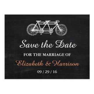 Tandem Bicycle On Chalkboard Wedding Save The Date Postcard