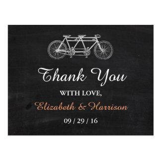 Tandem Bicycle On Chalkboard Wedding Thank You Postcard