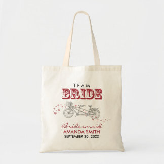 Tandem Bicycle Personalized Wedding Party Tote Bag
