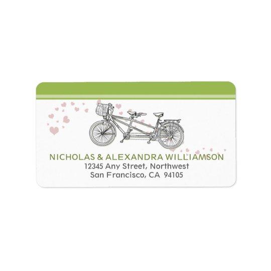 Tandem Bicycle Return Address Labels (lime)