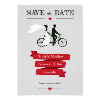 Tandem Bicycle Save the Date Cards