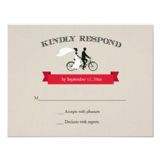 Tandem Bicycle Vintage Wedding RSVP Card
