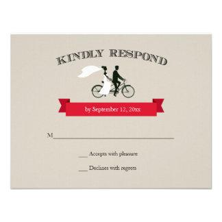 Tandem Bicycle Vintage Wedding RSVP Invite