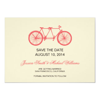 Tandem Bicycle Wedding Save The Date Pink Ecru Card