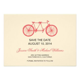Tandem Bicycle Wedding Save The Date Pink Ecru Announcements