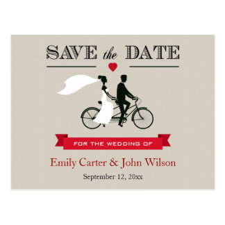 Tandem Bicycle Wedding Save the Date Postcard