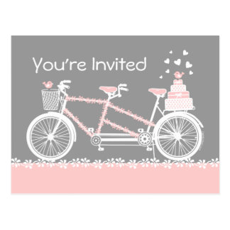 Tandem Bicycle Wedding Shower Invitation Postcard